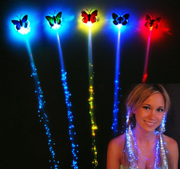 Wholesale Decor Clips - Wholesale- New 2016 Flash LED Hair Women Girl Braid Clip Butterfly Hairpin Decor For Party Dance Gift