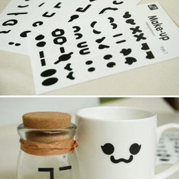 Wholesale Mustache Cups - Wholesale- 3 Sheets   Pack Diy Cute Black Mustache Nose Eyes Mouse Emoticon Kawaii Cup Stickers Decor Stationery Korea Memo Pad Post It