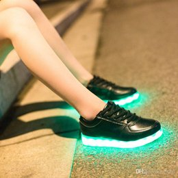 Wholesale Neon Shoes For Men - Wholesale prices DHL free shipping 2016 women light up led luminous shoes recharge for men adults neon basket color glowing casual fashion