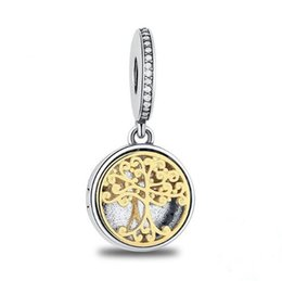 Wholesale Engraved 925 - 925 Sterling Silver Family Roots Trees & Engraved Family Forever Gold Charms fit Pandora Bracelet DIY Jewelry Accessories Making