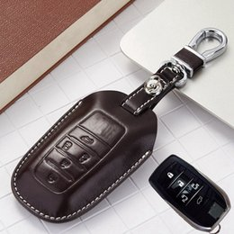 Wholesale Carbon Fiber Key Case - Leather Key Fob Case Cover for Toyota Vellfire 2014 2015 2016 2017 Alphard Accessoriees Alphard Key Holder Chain