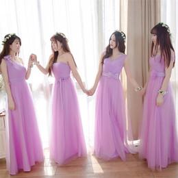 Argentina 2018 Elegante una línea de estilo mixto de color rosa chicas de dama de honor playa de gasa larga con cuello alto de tul sweety boda vestido de invitados 12 Suministro