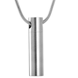 Wholesale White Gold Filled Locket - MJD2023 Modern Simple Cylinder Cremation Urn Jewelry Stainless Steel Ashes Pendant Memoiral Jewelry Keepsakes Urn Necklace