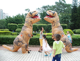Wholesale Popular Halloween Costumes - Popular inflatable dinosaur costume cosplay fan operated animal dino riders t - rex costume party halloween costume halloween costumes