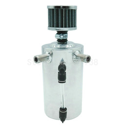 "Wholesale Aluminum Oil Catch Can - Silver Universal CAR 19mm 3 4"" Polished Aluminum Reservoir Oil Catch Can Breather Tank"
