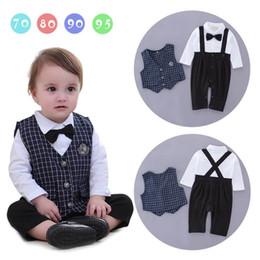 Wholesale Kids Vest Tie - Baby Boys Rompers Tie Gentleman Infant Long Sleeve One Piece Jumpsuits+Blue Plaid Vest Kids Clothing 3-18M E13980