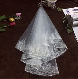 Wholesale Sequin Layer - Cheap Real Image White Shining Sequined Applique Lace Wedding Veil Short Wedding Veils Elbow Length Bridal Veils 135cm Length Veil With Comb