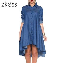 Wholesale Overall Denim Dress - denim dress women 2017 long sleeves overalls one-piece blue autumn fashion casual dresses elegant loose Midi LC61215 17414