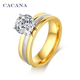 Wholesale Brilliant Diamond Rings - CACANA Stainless Steel Rings For Women Gold Plated Fashion Brilliant CZ Diamond Jewelry Wholesale NO.R95