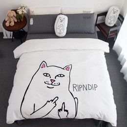 Wholesale Comforter King Set Simple - bedding sets 100% washed cotton cartoon cat go away duvet cover simple king size bed line pillow case flat sheet queen size