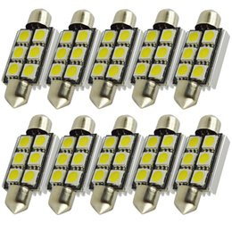 Wholesale Smd 41mm Canbus - 10pcs 36 39 41mm 5050 6 SMD led canbus festoon interior led dome lights Xenon DOME LIGHT LED BULBS doom map door lamp festoon