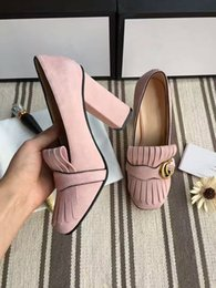 Wholesale Women Brown Pumps - Seven Colors Hot selling Women Chunky high heel Pumps with Top quality Genuine leather Dress shoes Brand wedding party sweet single shoes