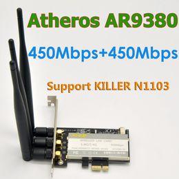 2019 wifi atheros Atheros AR9380 AR5BXB12 802.11 a/b/g/n 900Mbps PCI-E WiFi адаптер с 3 x 6DBi SMA антенна для MAC OS/Linux / Windows 8,10 скидка wifi atheros