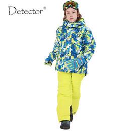 Wholesale Girl S Sport Set Kids - Wholesale- 2016 New Children's Snow Ski Suits Baby Boys Girls Outdoor Wear Hooded Jackets+Bandage Pants Kids Winter Warm Sport Coat Sets