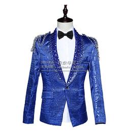 Wholesale Long Red Dres - Wholesale- 2016 blazer jacket prom wedding male costume nightclub bar slim sequins singer dancer performance show Red blue white court dres