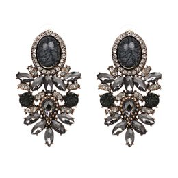 Wholesale Good Quality Crystal Earrings - Wholesale good quality big crystal earring 2017 New statement fashion stud Earrings for women