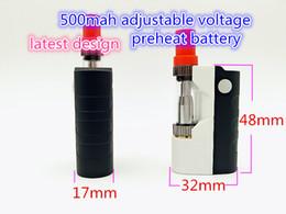 Wholesale Design E Cigarette Batteries - Latest Design 500mah 510 Preheat Battery With 0.5ml 1.0ml Liberty V1 Tank Vaporizer Cartridge Starter Kits VAPE Mod E Cigarette Portable