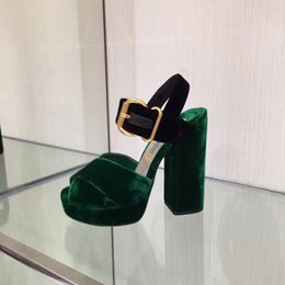 Wholesale Open Sandals High Heel Platform - 2016 New Genuine Leather Velvet Women HIgh Heel Sandals Buckle Strap Platform Women Thick Heel Pumps Shoes Women