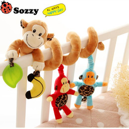 Discount crib animals - Wholesale- 4 type Sozzy Plush Baby Toy Crib Car Bed Stroller Spiral Hanging Decoration Toy Ring Bell Baby Rattle Educational Toys #NA1
