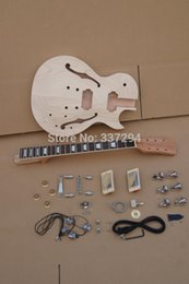 Wholesale Diy Unfinished Guitars - Wholesale- DIY LP Guitars Mahogany Body Unfinished Electric Jazz Guitar Kit With Flamed Maple Top (2cm-3cm) project guitar kit CNC