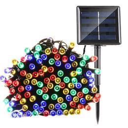 Éclairage d'arbre mené en Ligne-100 LED 200 LED Solaire Lumières De Noël 72ft 8 Modes Alimenté À L'énergie Solaire Guirlande Lumineuse Fée Décoratif Jardin Guirlande Lumières Party Tree Lampe 12 M 22 M