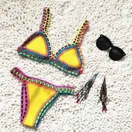 Wholesale Knitted Beachwear - Women Sexy Swimwear Bikinis Set Hand Made Knitting Girl Beachwear Bathing Suits Biquini Swimsuit top quality