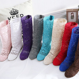 Wholesale Sew Candy - 2017 summer colorful candy color wool net boots knitted hollow lace high boots women flat bottom single boots 12 color wholesale