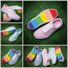 Wholesale Green Lighters - 2017  Summer Rainbow Old Skool Lighter Pink Blue Mint green Designer Skateboard Shoes Women Girls Canvas Casual Sneakers 4-8.5