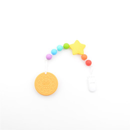 Wholesale Fashion Biscuit - Wholesale-New Fashion Biscuit Pendant Baby Teether For Infant Silicone Pacifier BPA Free Hand Made Silicone Teethers Clip Holder Pacifier