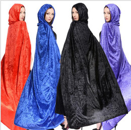 Wholesale Medieval Men - adult sexy Hooded Cloaks Women Men Colorful Halloween Wears Perfect For Winter Medieval Long Costumes cloak Party decoration witch cape