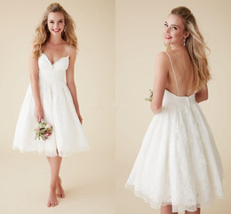 Wholesale Cute Sexy Mini Wedding Dresses - Cute Short Beach Wedding Dresses V Neck Spaghetti Straps Knee Length Sexy Backless Wedding Gowns Organza Lace Bridal Dresses