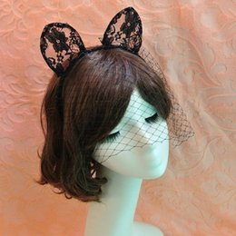 Wholesale Cat Lace Veil - Long Ears Veils On Headband Hairband for Costume Party Lace Cat Girl Fancy ee