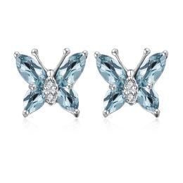 Wholesale Earring London - Wholsale Fashion Jewelry Women Solid 925 Sterling Silver Women Elegant Genuine London Blue Topaz MQ Butterfly Shape Earrings Stud On Stock