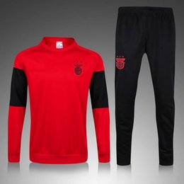 Wholesale Clothing Stops - 2017 Benfica Red tracksuit kits Sport training Suit men's Clothes Trackring suits Male Hoodies free shipping