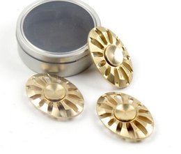 Wholesale Fine Toys - New design Round UFO Fine Copper Hand Spinners Fidget Spinner Top Triangle Finger Spinning Top Decompression Fingers Tip Tops Toys DHL