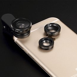 Wholesale Macro Lens S3 - For Note 3 4 5 Samsung Galaxy S3 S4 S5 S6 S7 S8 Edge 3 in 1Mobile Phone Lens with Fish Eye & Macro & Wide Angle & Clip TX001