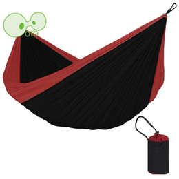 Wholesale Fabric Double Hammock - Wholesale- Newest Portable Fabric Hammock Parachute Nylon Durable 320cm*200cm Double Person Outdoor Activities Sleeping Bed Multi-color