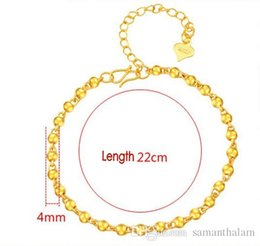 Wholesale 24k Gold Bracelets For Women - Classic Style 24K dubai gold filled Fashion Bracelets & Bangles 4mm 22cm hollow balls link Charm Jewelry For Girl Women