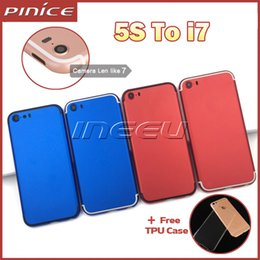 Wholesale Colorful Housing Cover For iPhone S Like Aluminum Metal Back Case Housing Battery Door Cover Replacement Like i7 style