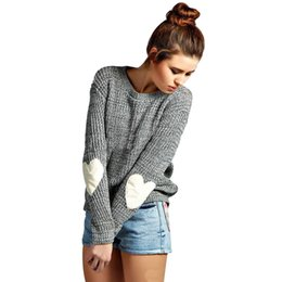 Wholesale oversized sweater free shipping - Wholesale- Women Winter Hearted Sleeve Pullover Solid Jumper Knitted Sweater Top for Women Autumn Female Oversized Sweater Free Shipping