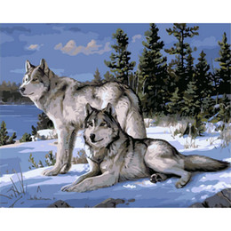 Wholesale Framed Canvas Acrylic Paintings - No Frame Wolf Animals DIY Painting By Numbers Kits Paint On Canvas Acrylic Coloring Painitng By Numbers For Home Wall Decor
