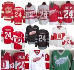 Wholesale Sports Jersey Patches - Mens Detroit Red Wings 24 Bob Probert 100th Anniversary Patch Vintage Red Black Green White Throwback Hockey Jerseys Sport jerseys on sale