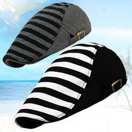 Wholesale Wholesale Cotton Beret Hats - Wholesale-Men's Women's Cabbie Newsboy Golf Style Stripe Peaked Cap Flat Hat Beret Hats Store 51
