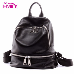 Wholesale cow leather backpack - Wholesale- HMILY Women Daily Bags Vintage Genuine Cow Leather New Brand Women Backpack Fashion Travel Bag For Ladies Daily Laptop Bag
