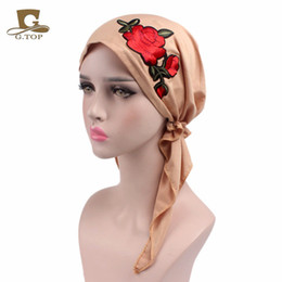 Wholesale red rose scarf - 2017 new fashion Rose embroidery stretchy Pre-Tied head Scarf Head wrap scarves Cancer Chemo cap Turban Ladies Turbante