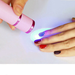 Wholesale Uv Nail Dryer Lamp Flashlight - New mini 9 LED nail dry portable phototherapy machine UV ultraviolet lamp flashlight quick dry roasted beauty nail tool