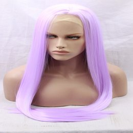 Wholesale Light Purple Wigs - Long Purple Wig Cosplay Manga Gin Tama-Sarutobi Ayame Straight Pure color Synthetic Heat resistant Light Purple Lace Front Synthetic wigs