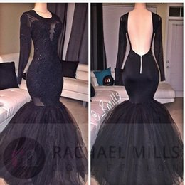 Wholesale Imported Photos - Mermaid Black Prom Dresses Cheap 2017 Real Photo Long Sleeves Sheer Imported Party Celebrity Dress Free Shipping Formal Women Evening Gowns