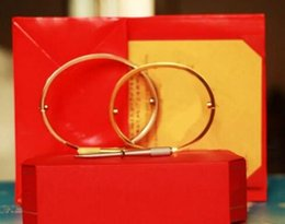 Wholesale Gold Love Bracelet Screwdriver - 2017 Titanium Steel Love Bracelets silver rose gold Bangles Women Men Screw Screwdriver Bracelet Couple Jewelry with original box set