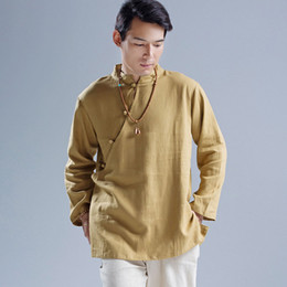 Camisa de linho do fu do kung on-line-Atacado- 2016 homens roupas de outono chinês Kung Fu trajes de linho de manga comprida camisas casuais Mens gola oblíqua botões camisa Q473